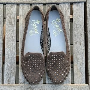 Rieker Rhinestones Laser Cut Loafer Flats Taupe